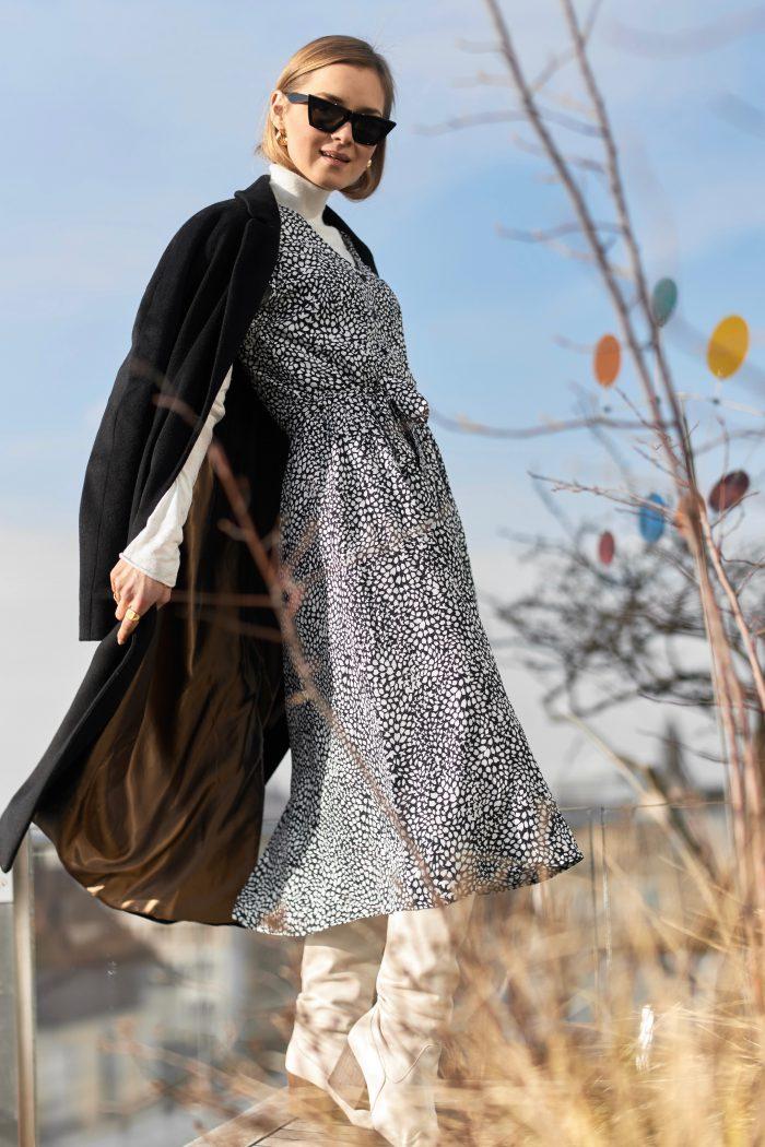 schwarzer wool mantel damen