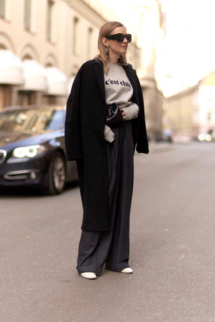 schwarzer wool mantel