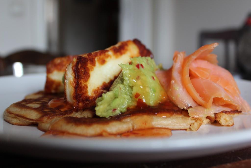 Ricotta Hotcake, Avocado, Salmon