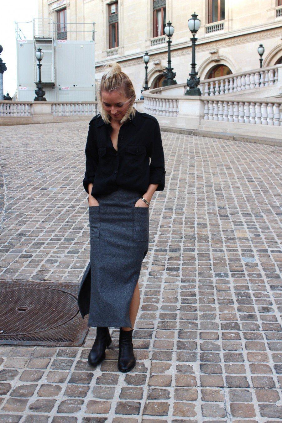 grey skirt zara