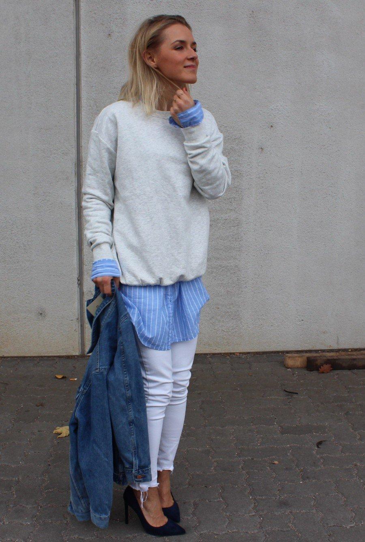 hellblaue lange Bluse H&M
