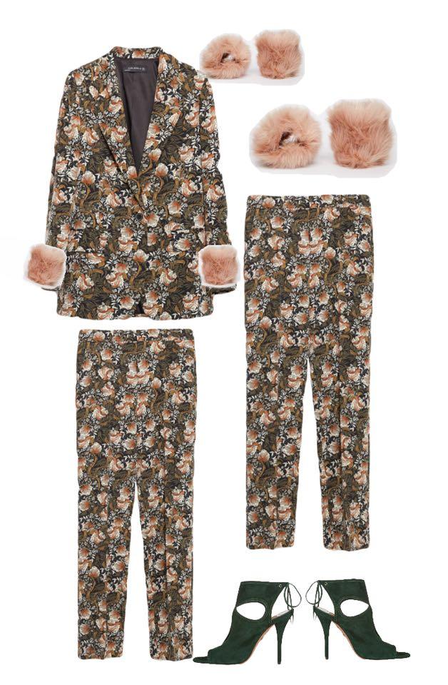 Blumenmuster Anzug Zara