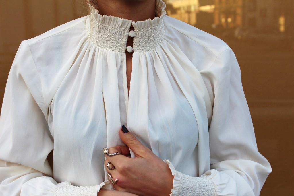 weiße Chiffon Bluse