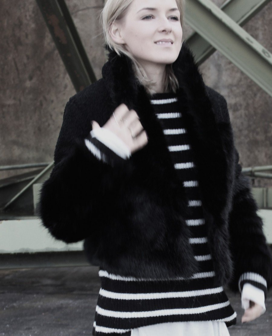 Felljacke H&M schwarz