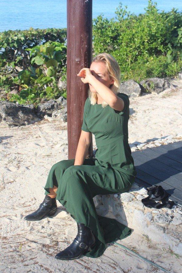 Fashion Blogger Maxikleid grün Sommer 2016