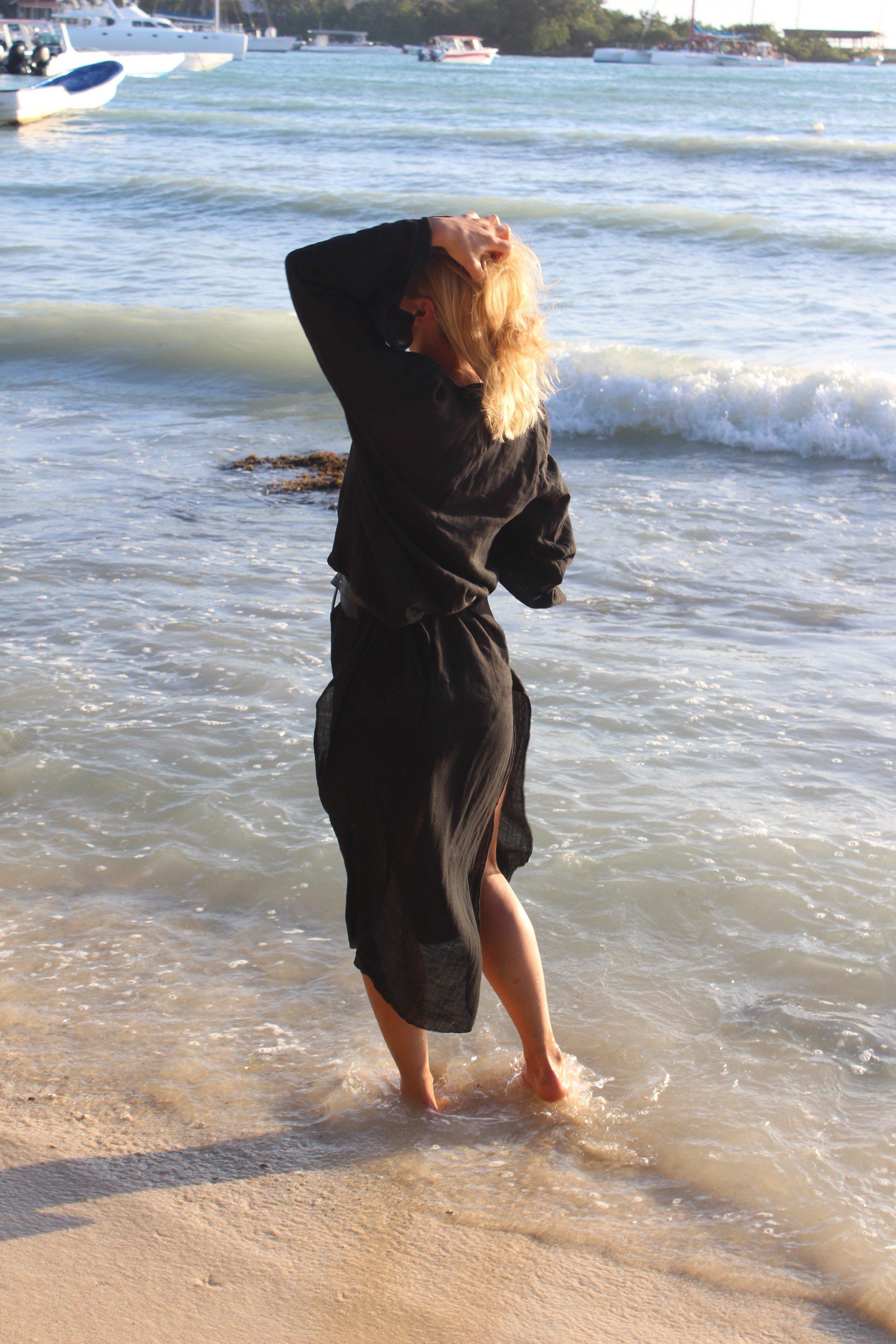 schwarzes beach kleid