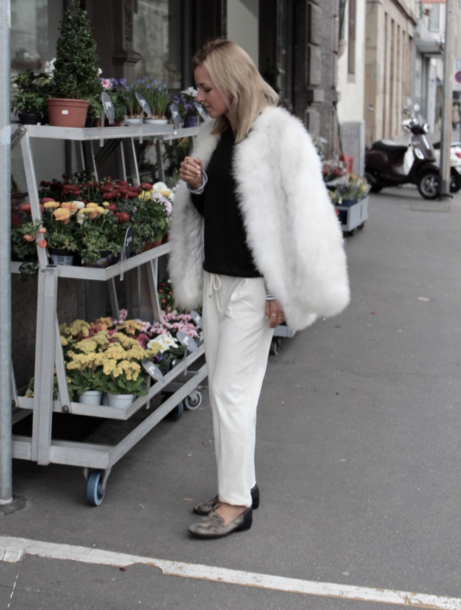 Vintage Federjacke weiß