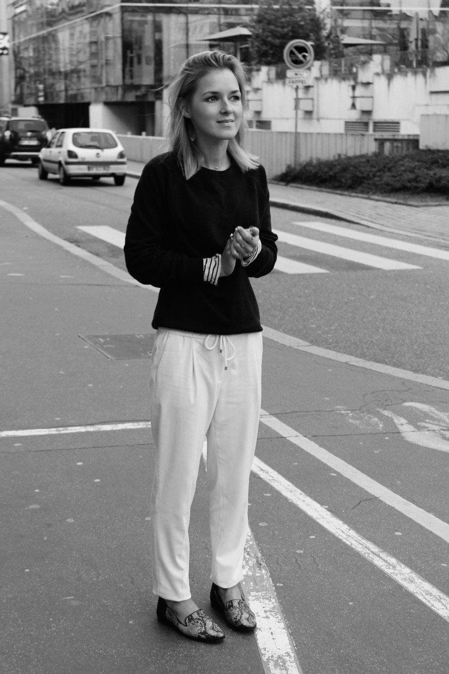 white Pants Massimo Dutti blogger
