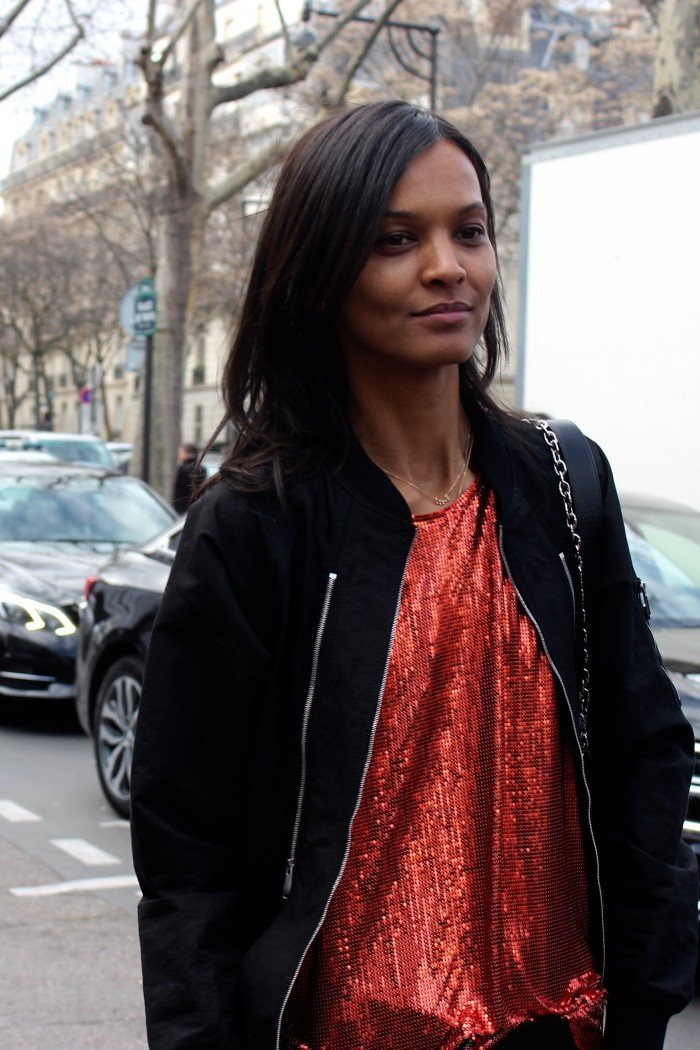 Model after Paris Fashion Week Show in march 2016