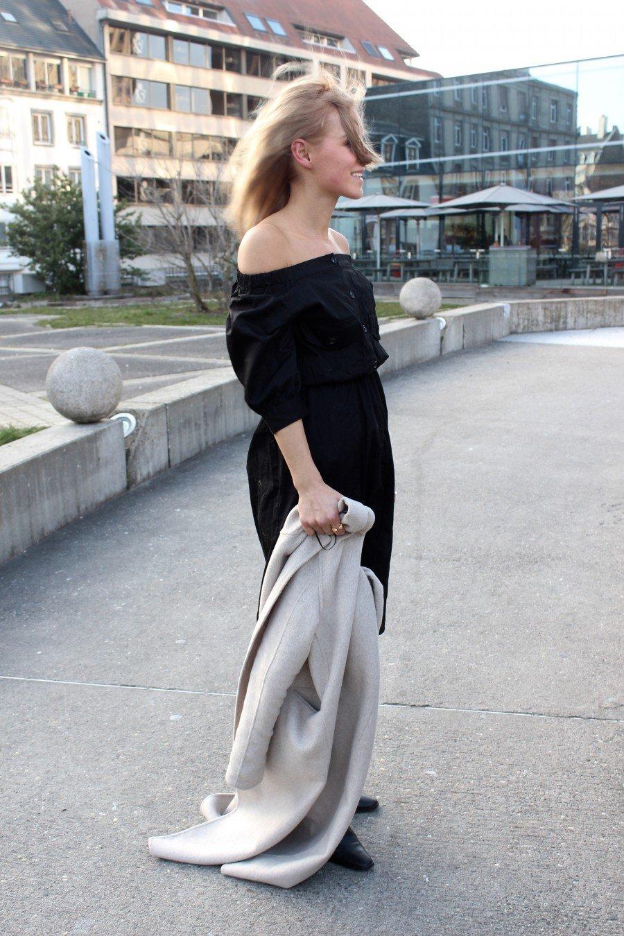 Schulterfreies Kleid H&M