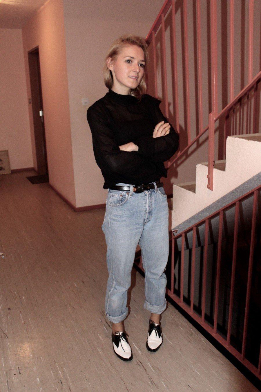 Volant Bluse H&M schwarz