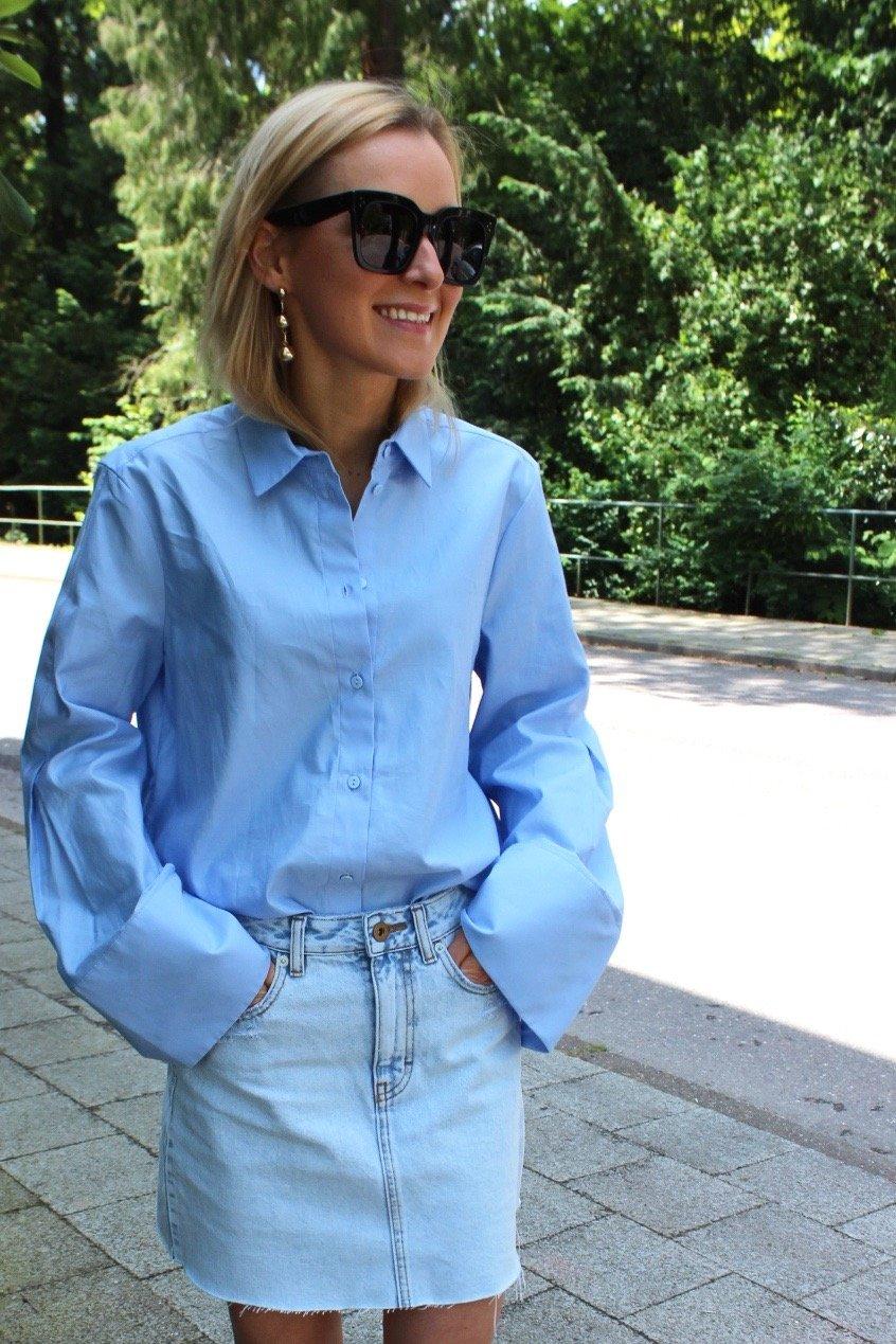 hellblaue Bluse mit weiten Ärmel, fashion