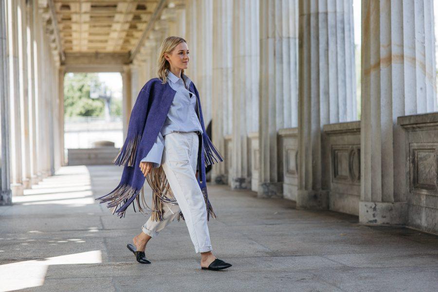 Céline Coat blue leather