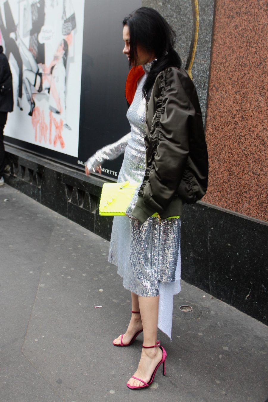 Streetstyle Haute Couture, VETEMENTS Glitter Dress Paris 2017