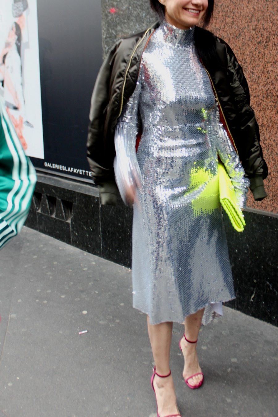 Streetstyle Haute Couture, VETEMENTS glitter Dress 2017