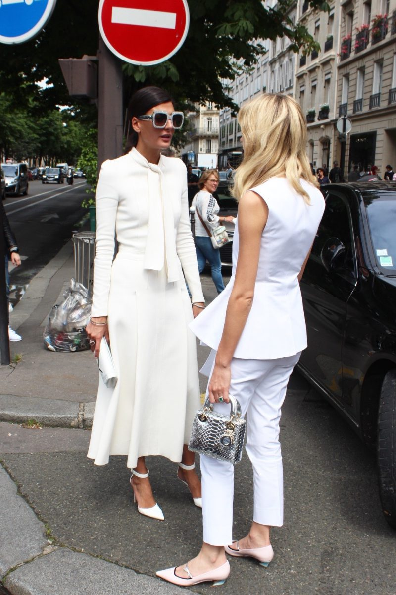 Giovanna Engelbert Haute Couture Fashion Week Streetstyle Look after Dior off white