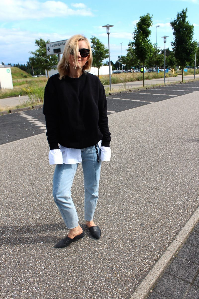 black sweater casual look