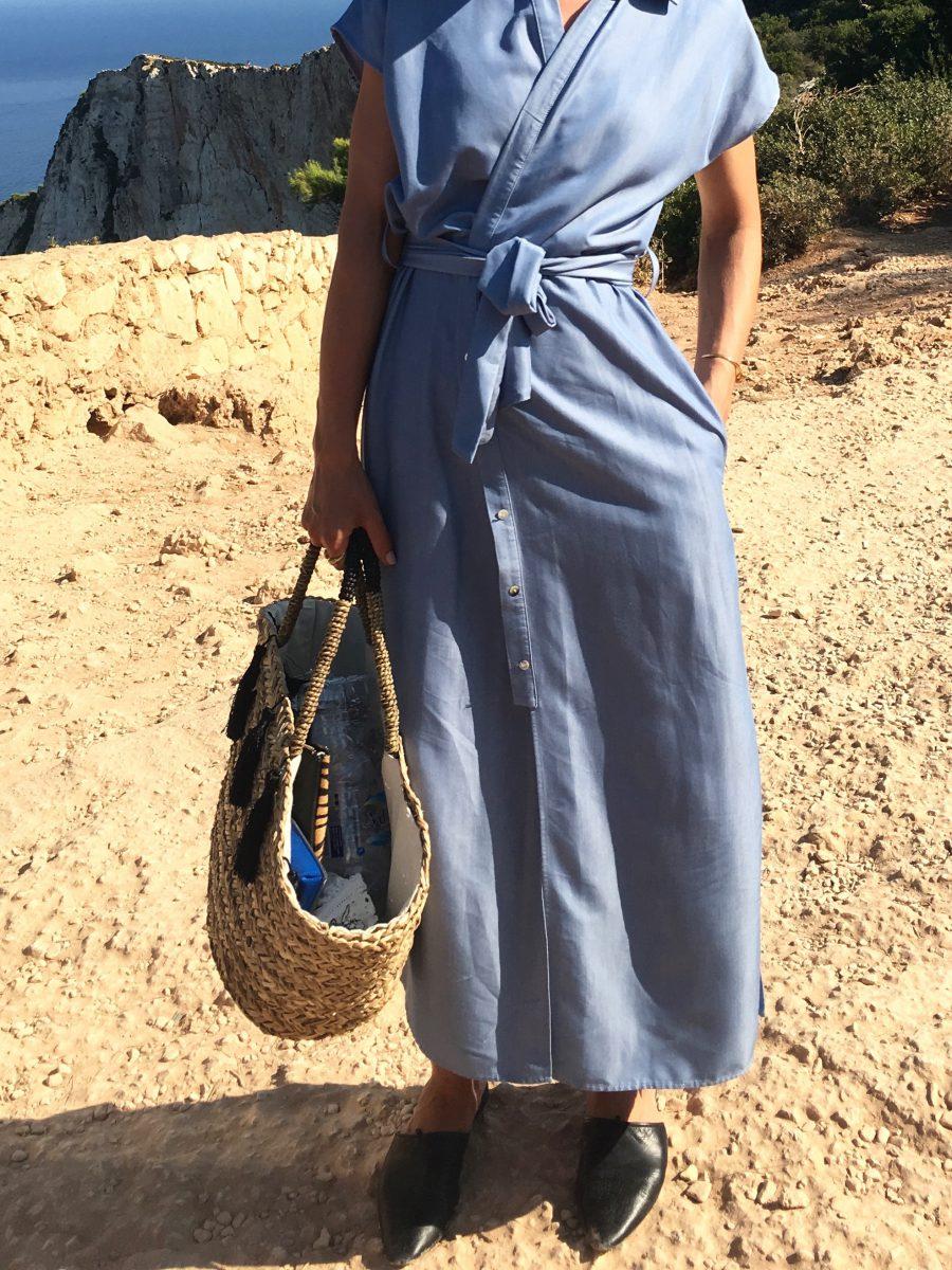 langes Kleid hellblau zara