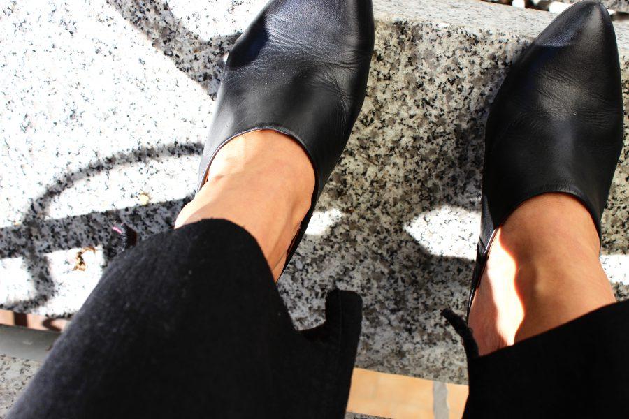 black leather mules H&M