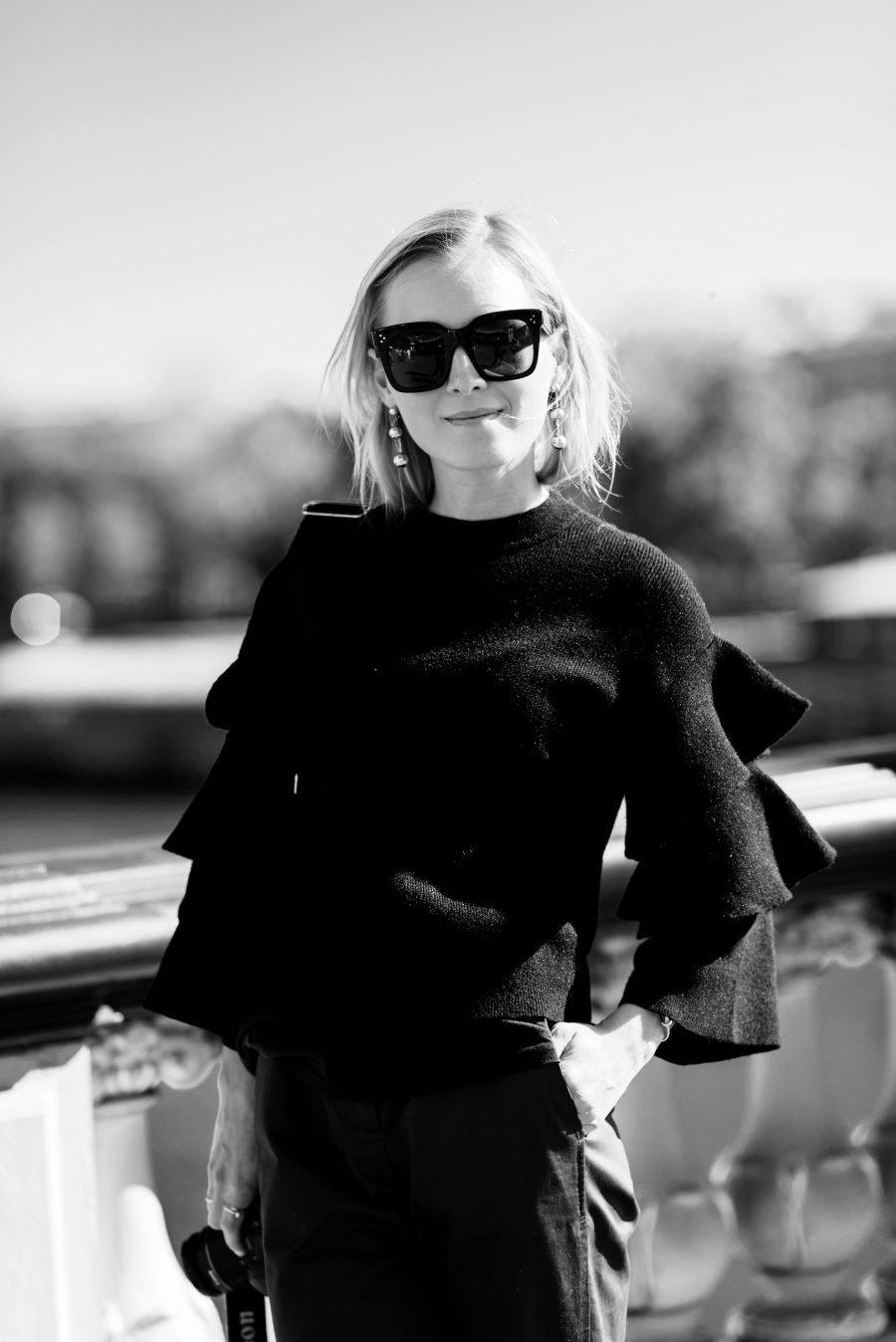 rüsschen Pullover schwarz