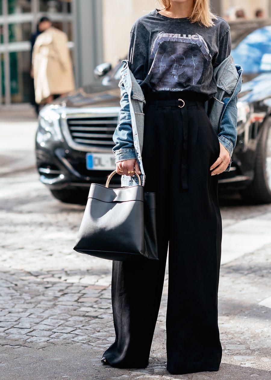weite Hose schwarz kombinieren blogger style
