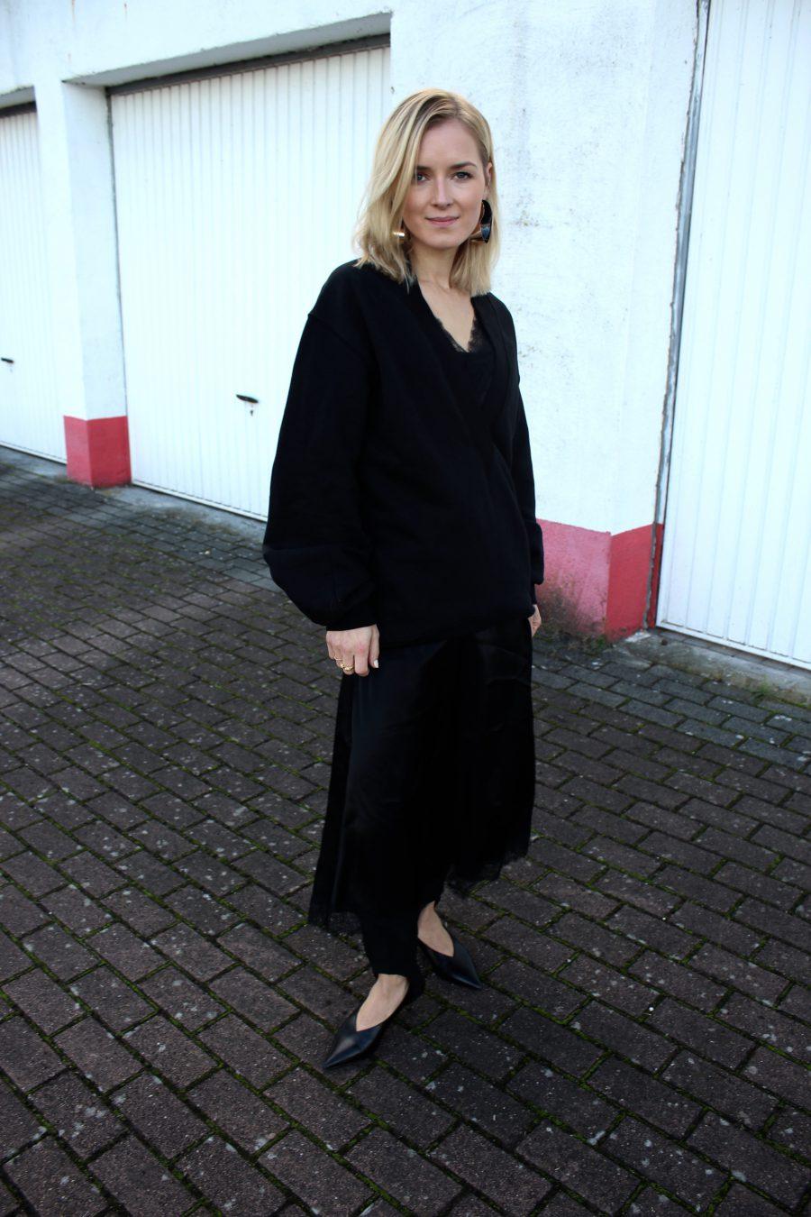 schwarzes kleid mit spitze H&M