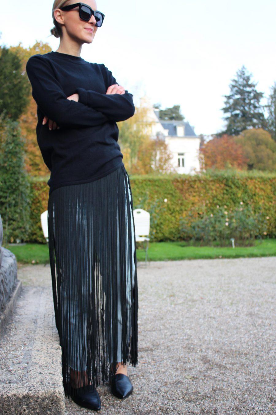 Fransenpullover H&M schwarz