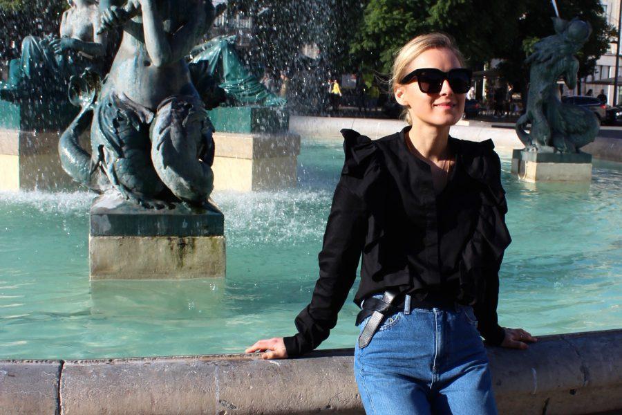 schwarze volant bluse h&M Trend