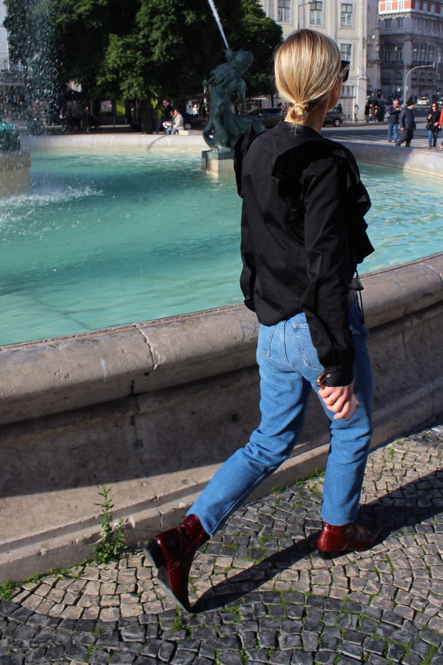 schwarze volant bluse H&M