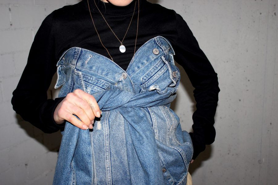 Denim Corset fashion blogger