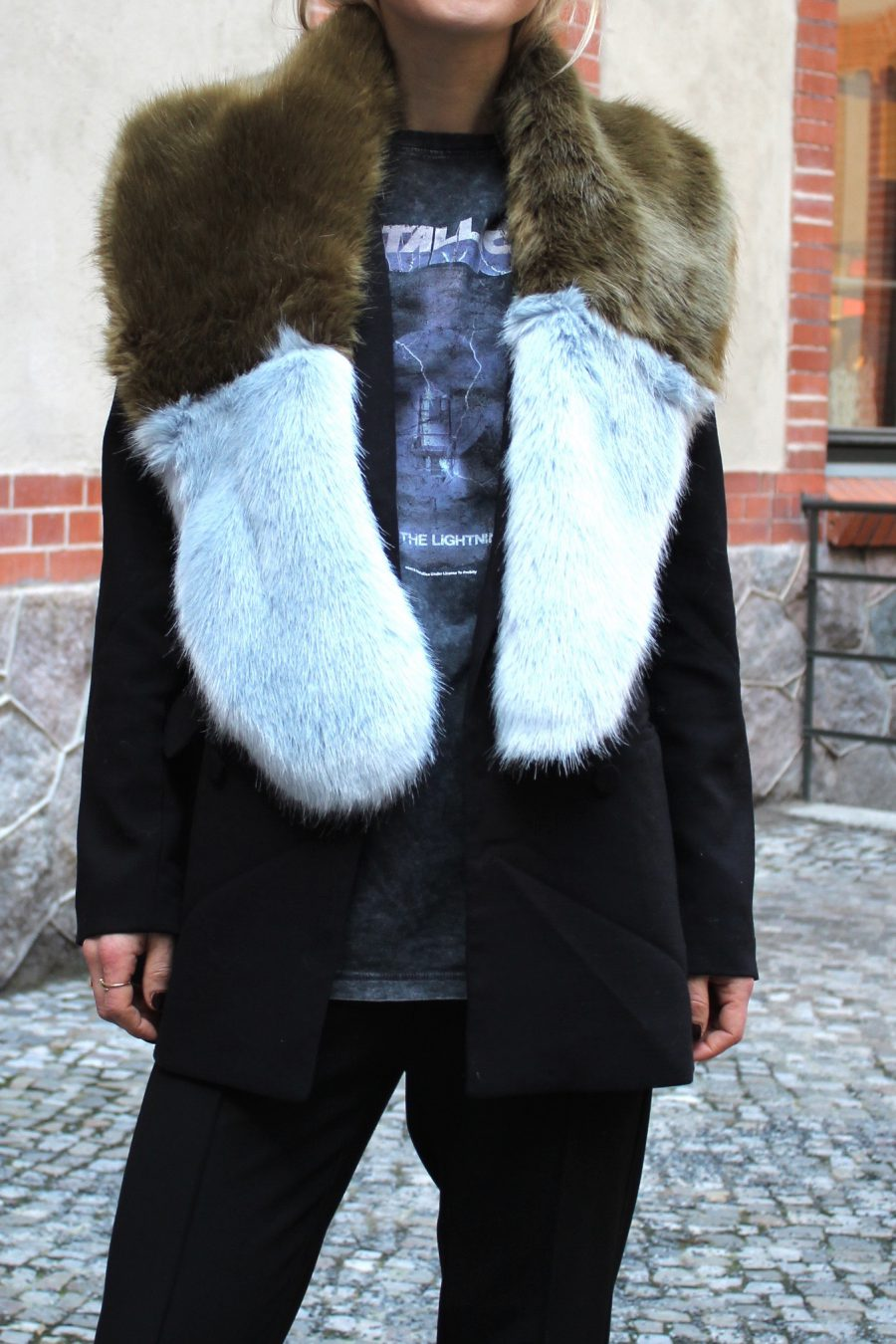 fake fur stola zara