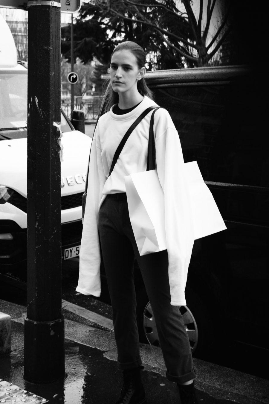 Model after Céline Runway in Paris FW 2017