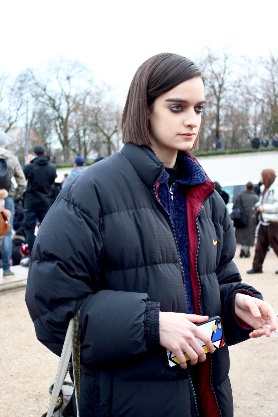 Paris Fashion Week AH17 Street Style model after hermes