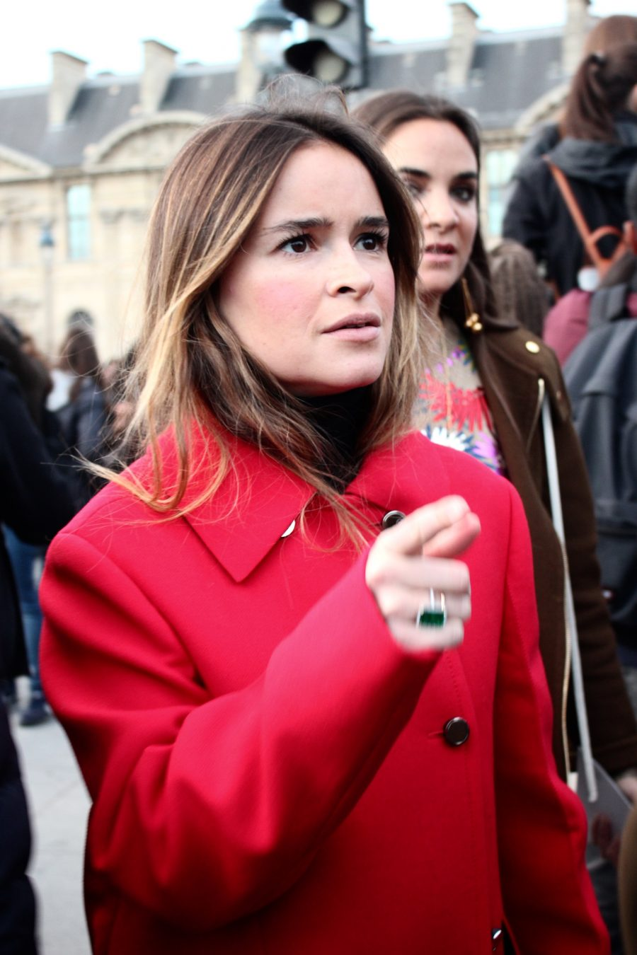 Paris Fashion Week Street Style Looks AH17 Miroslava Duma Louis Vuitton Louvre