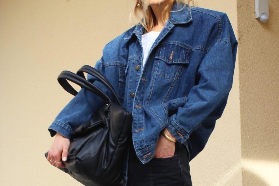 Zara shopping bag black
