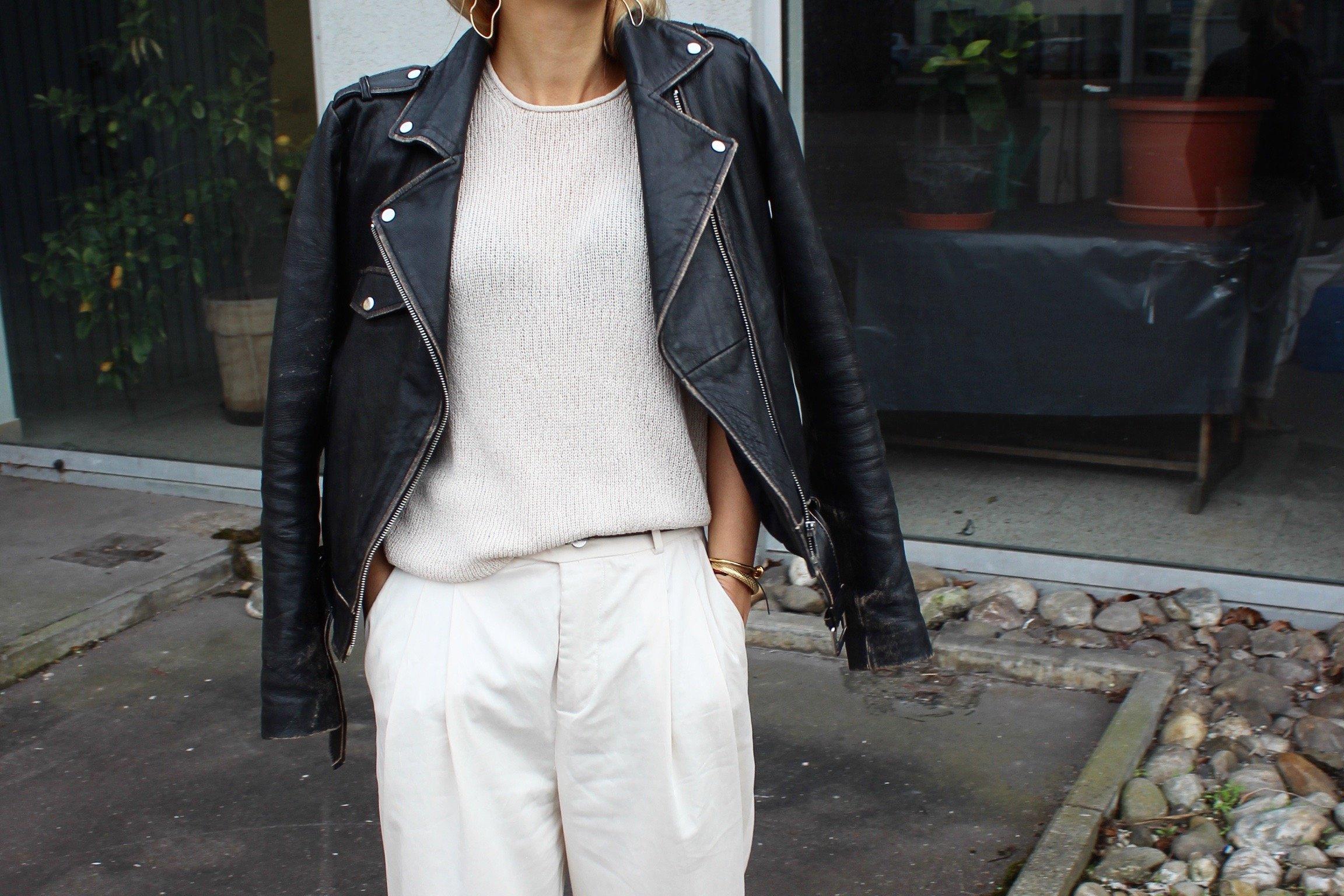 leather jacket zara vintage look