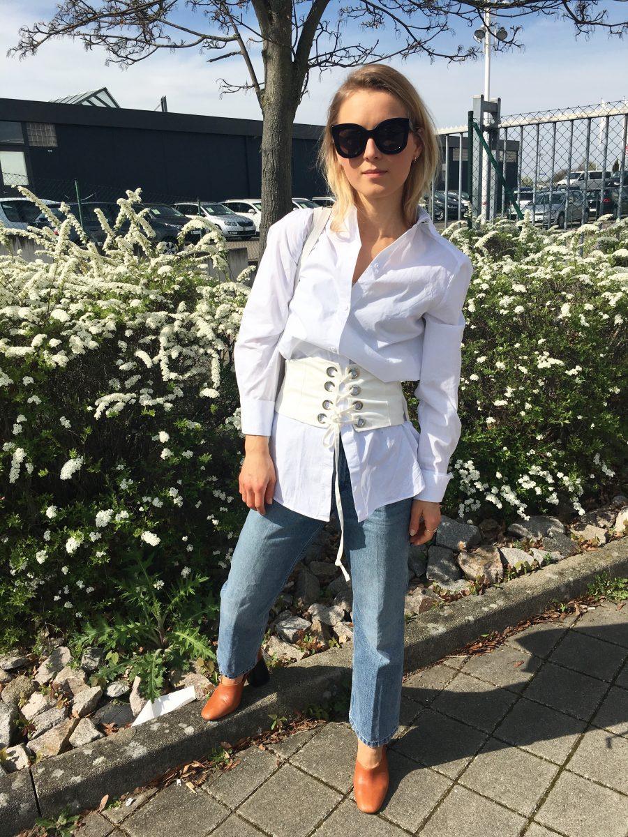 white Corset zara with shirt