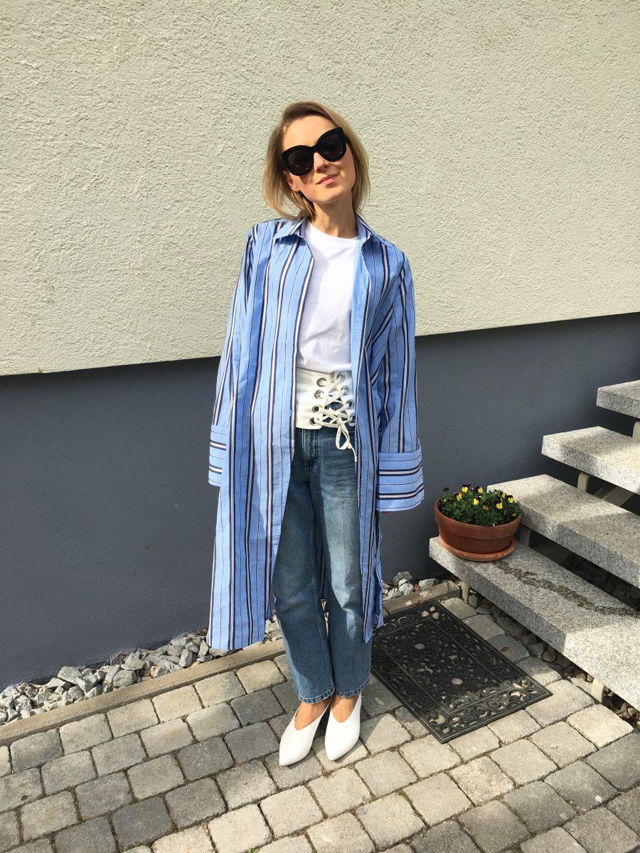 blusenkleid H&M blau gestreift