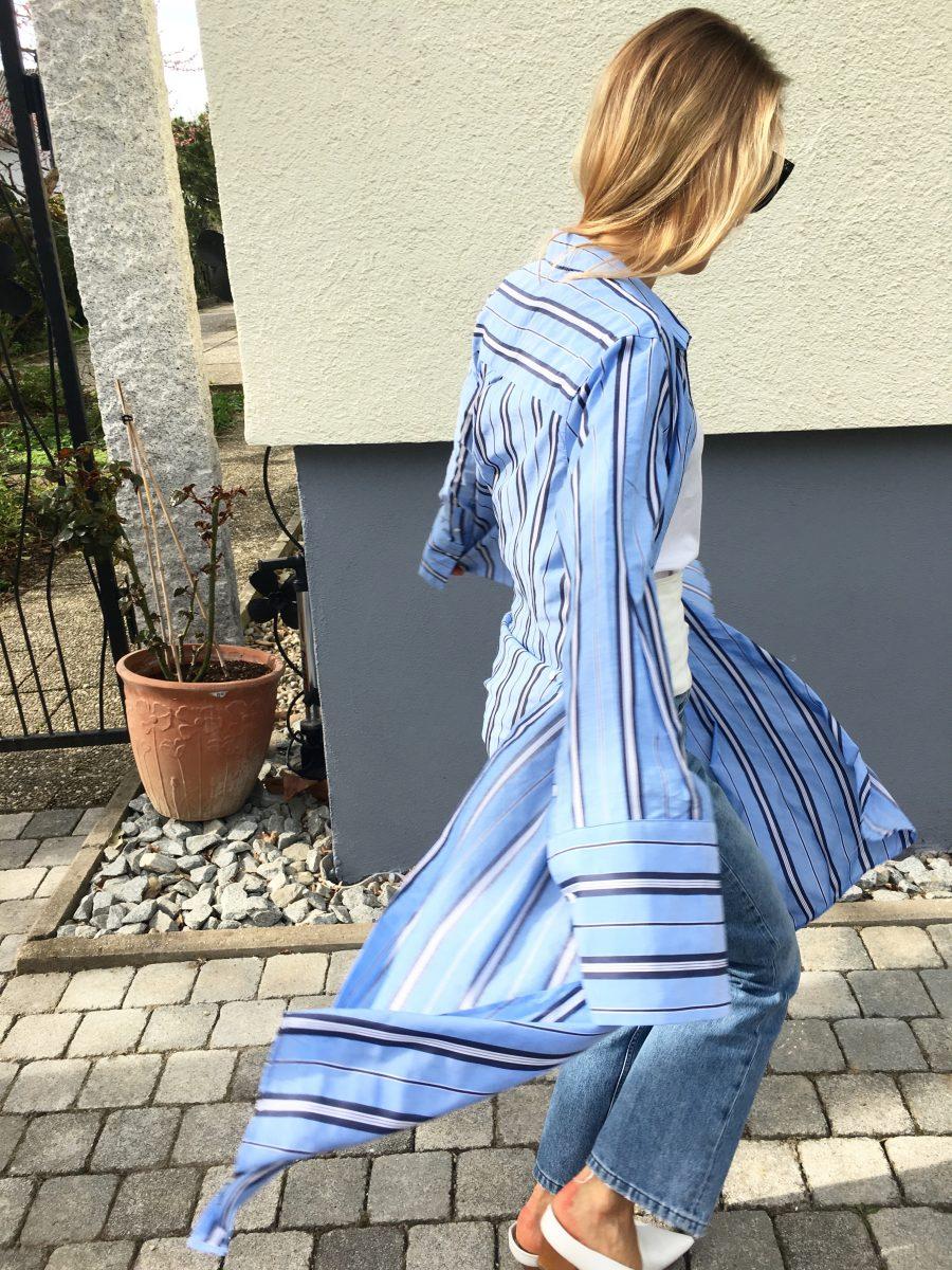 hemdblusenkleid blau weiß gestreift
