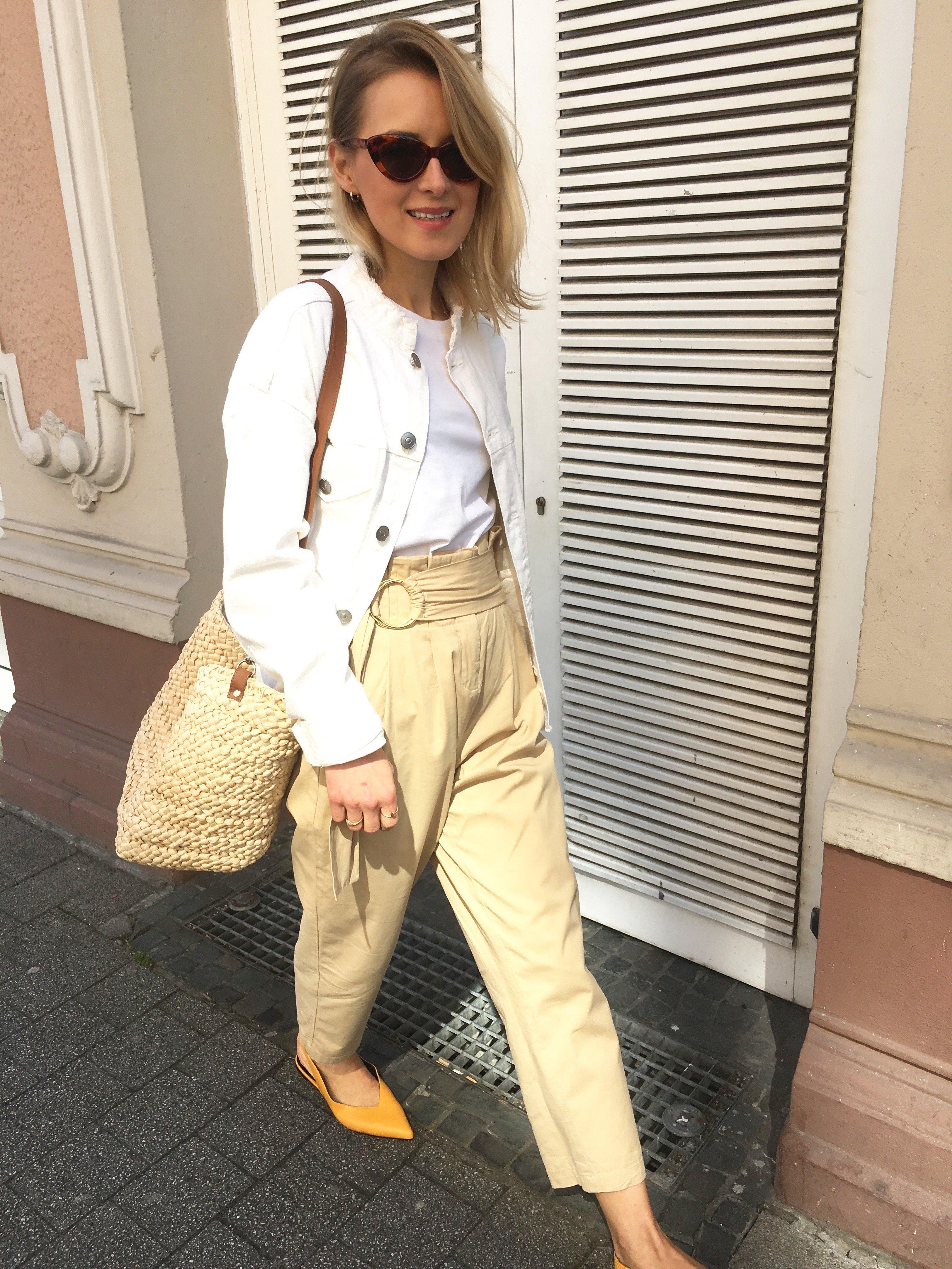 white denim jacket H&M