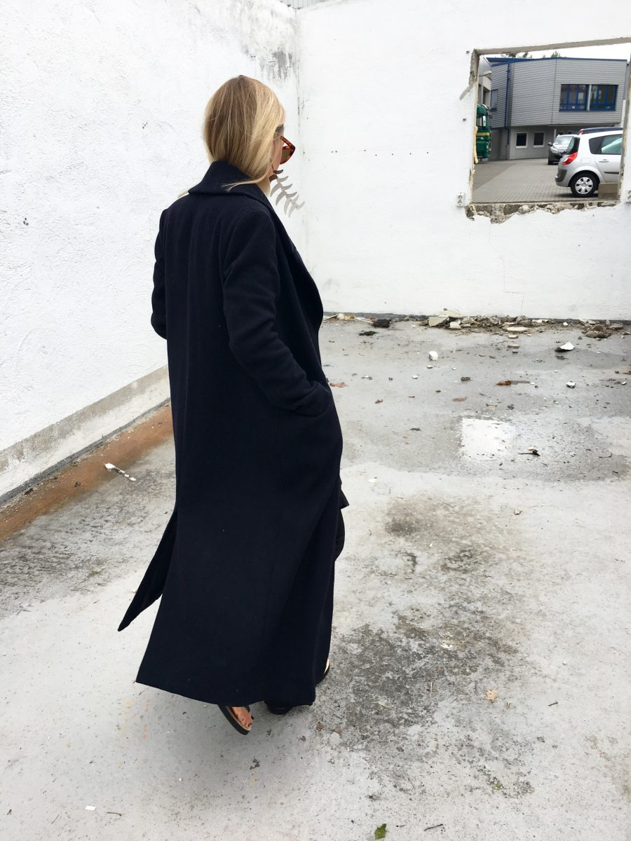 coat H&M blue oversized