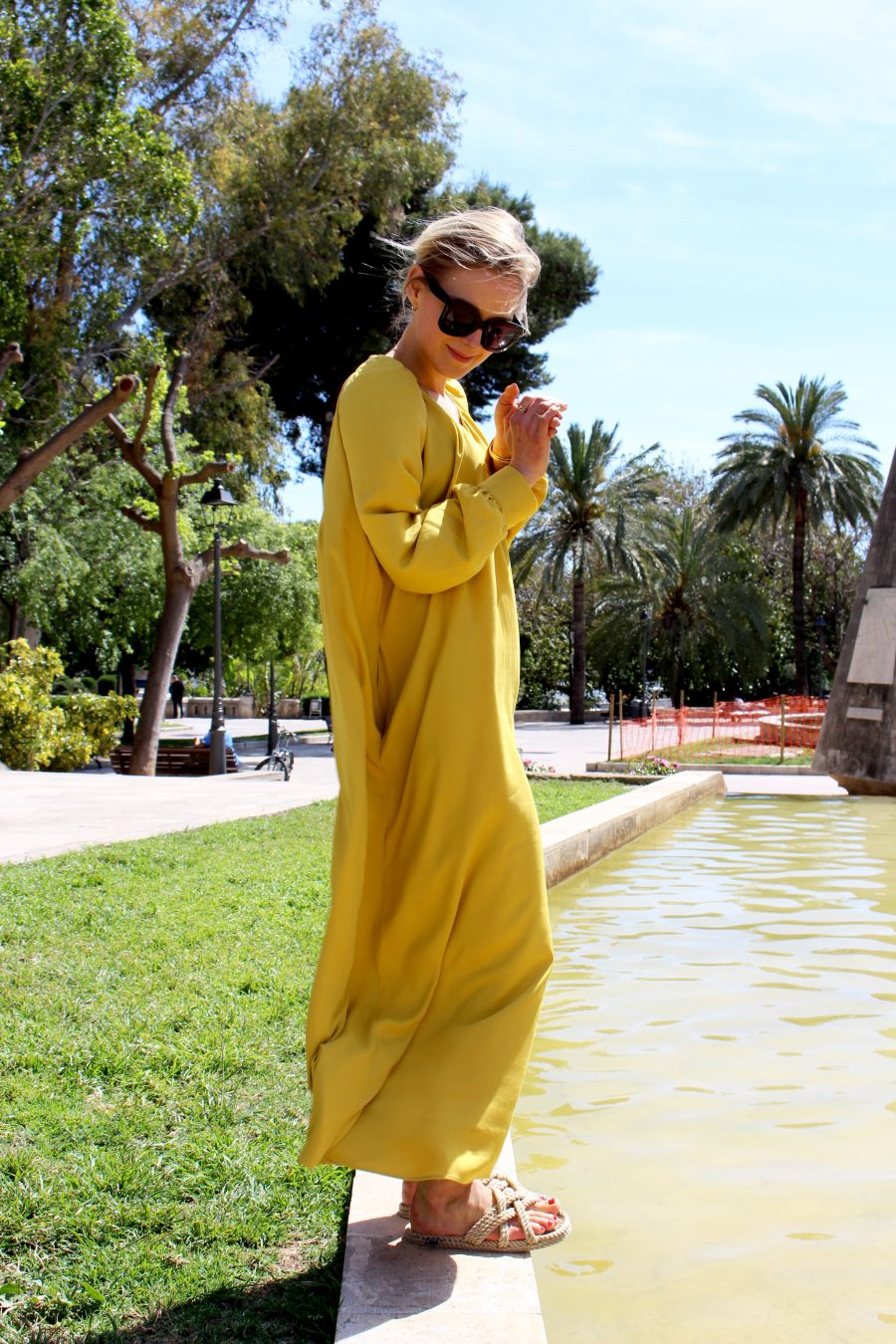 yellow maxi dress mango