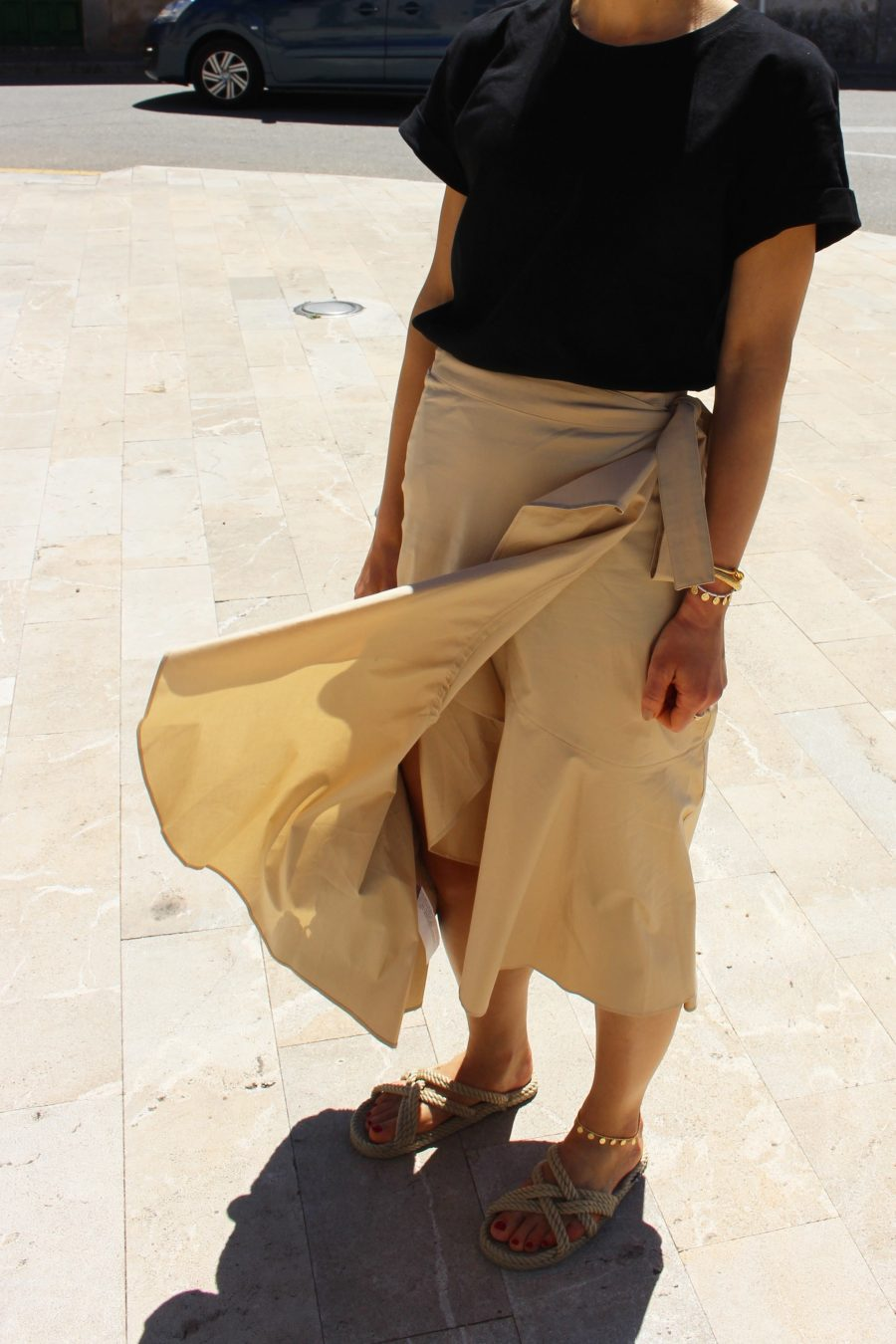 mango skirt with ruffles details beige