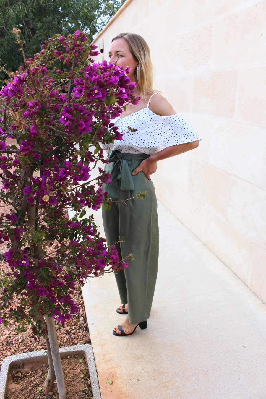 The Silk trousers green H&M