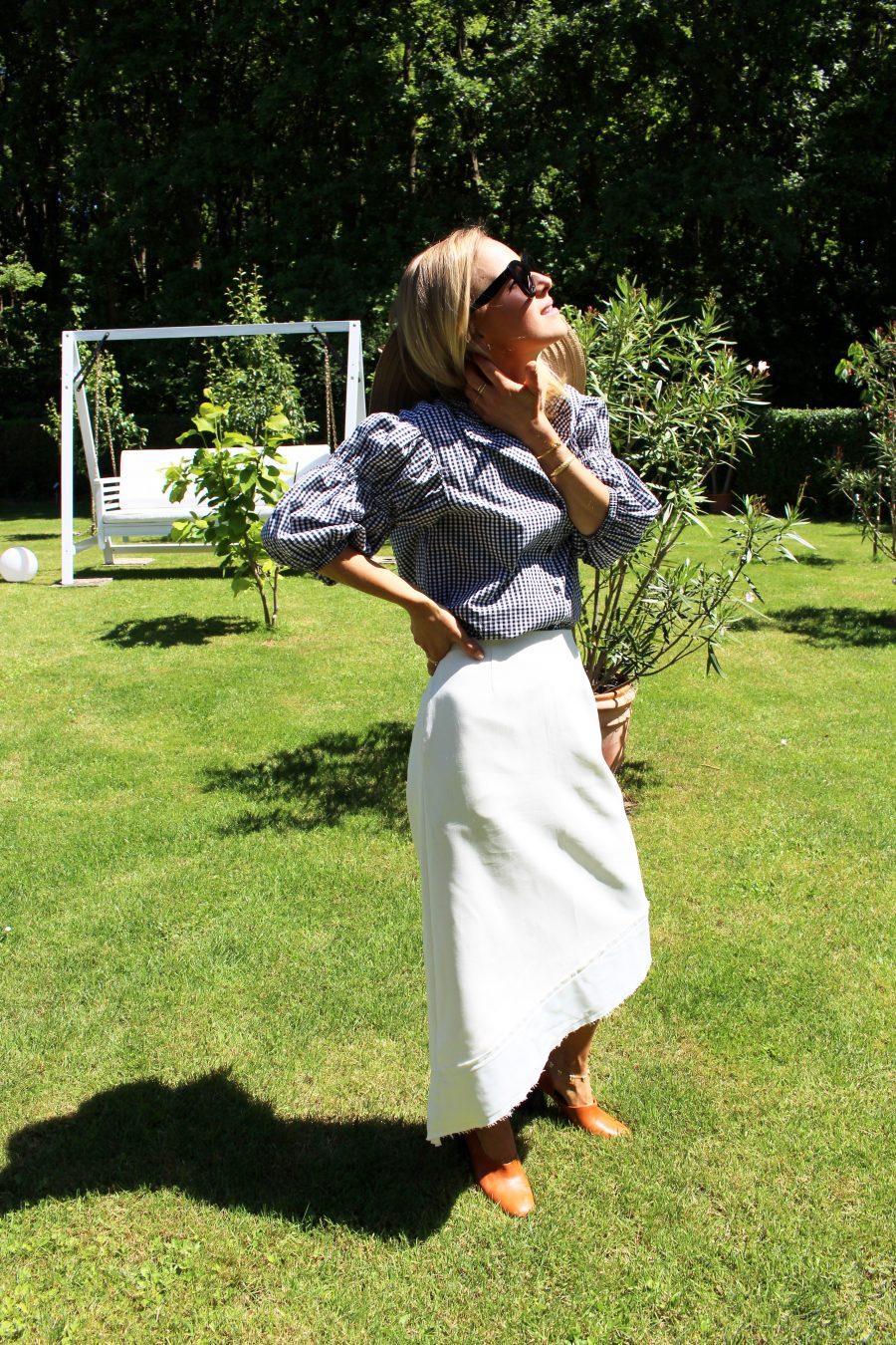 karierte bluse H&M schwarz weiß