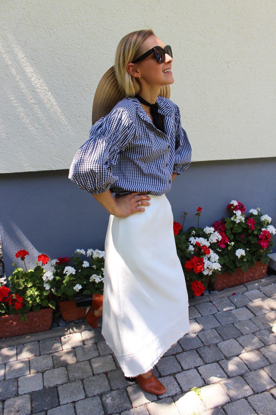 bluse schwarz weiß H&M Trend