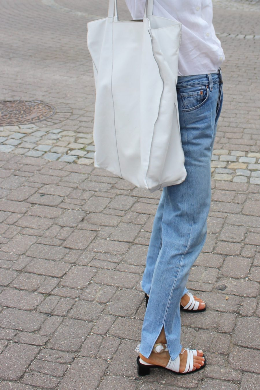 white runway céline shopper