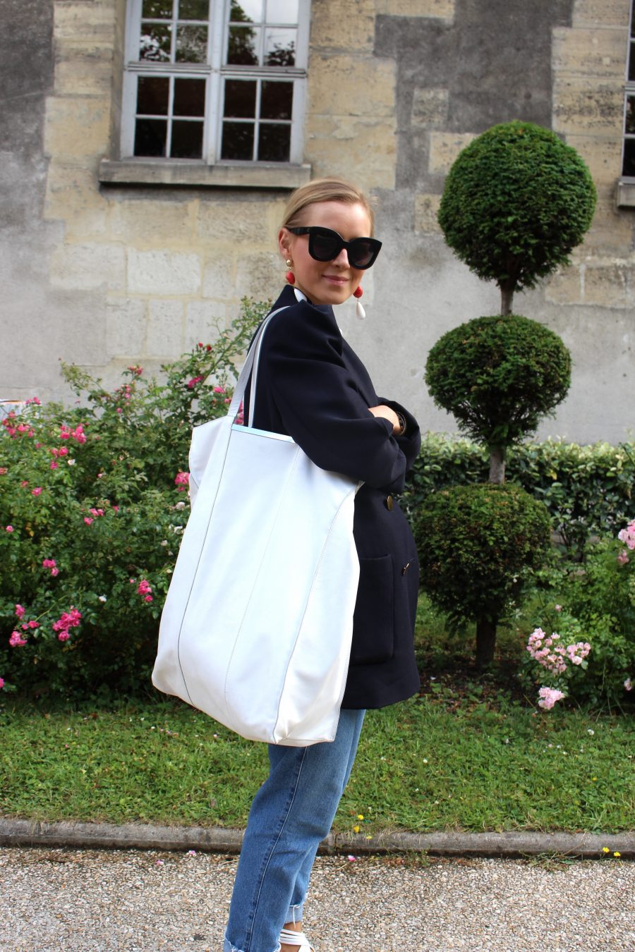 white shopper mango like céline
