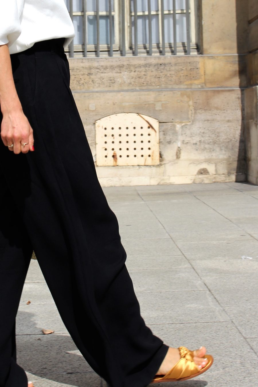wide pants H&M street style