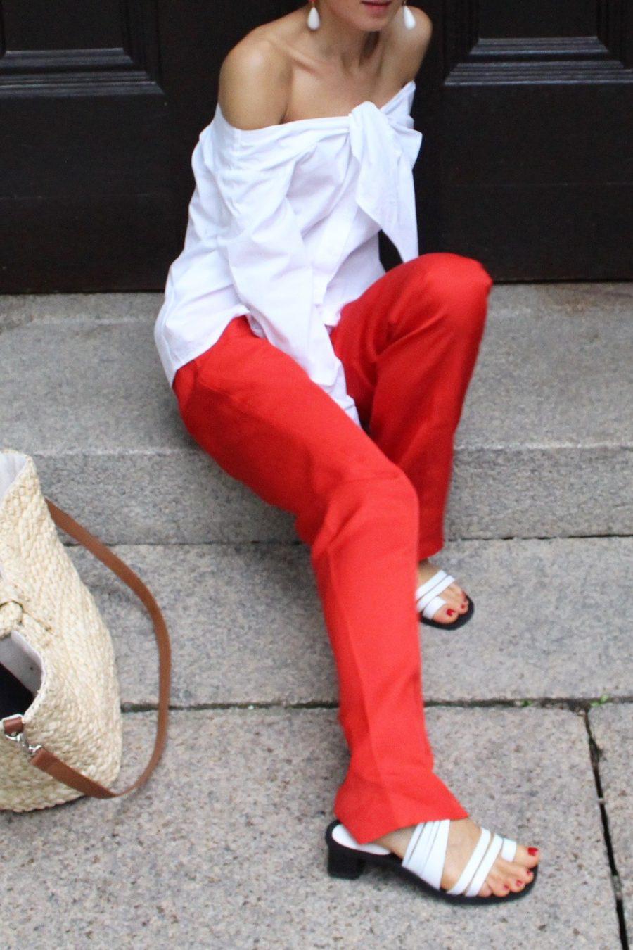 rote Anzugshose H&M Trend